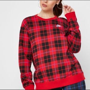 Nike red plaid crewneck sweatshirt